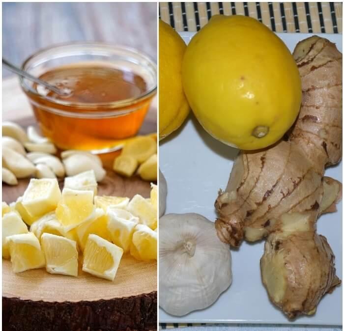 Tomar ajo fresco con limón